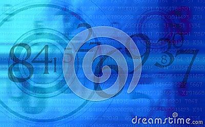 Le bleu abstrait numérote le fond