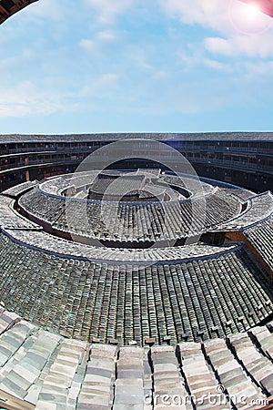 Le centre de la terre de Hakka construisant 3