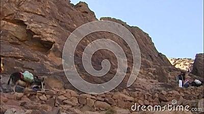 Le chemin menant à la crête du mont Sinaï Égypte banque de vidéos