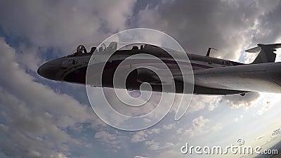 Le cockpit d'un avion à réaction en rotation banque de vidéos