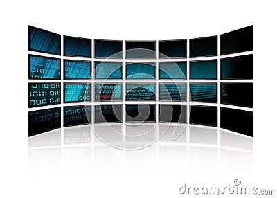 Le code binaire rougeoie sur des écrans de TV