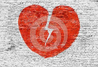 le coeur bris peint sur le mur de briques photo stock image 47318646. Black Bedroom Furniture Sets. Home Design Ideas