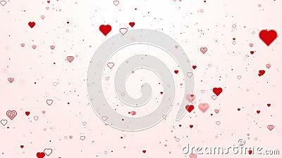 Le concept de Valentine avec les coeurs rouges forment circuler sur le fond rouge pour la Saint-Valentin de St illustration de vecteur
