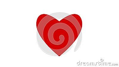 Le concept graphique de valentine d'amour d'animation de coeur mouvement rouge de battement du 2d a isolé illustration de vecteur