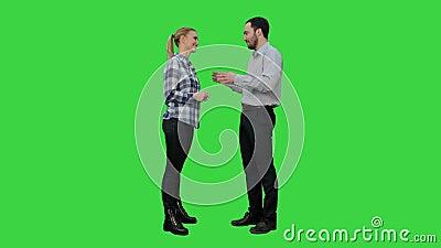 Le coppie degli amanti stanno, parlano, risata su uno schermo verde, chiave dell'intensità stock footage