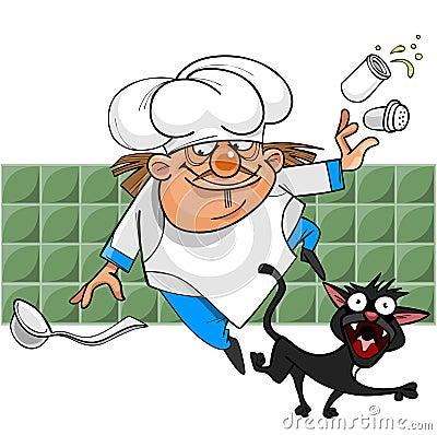 Le cuisinier infructueux de bande dessin e tr buche sur un for Cuisinier sel