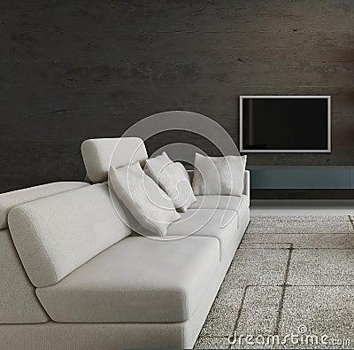 le divan moderne devant le mur en pierre et la tv tirent. Black Bedroom Furniture Sets. Home Design Ideas