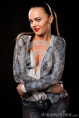 Le femme exécutif sexy avec bodypaint