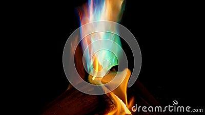 Le feu brûle dans beaucoup de couleurs banque de vidéos