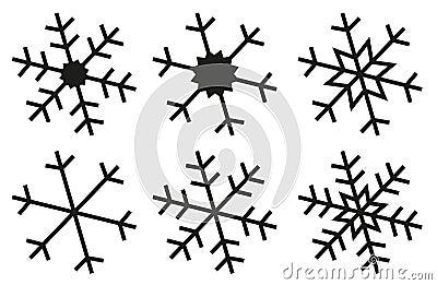 Le flocon de neige silhouette la collection photographie stock image 35630622 - Dessin flocon de neige simple ...