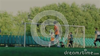 Le footballeur passant la boule, équipier frappe une boule et marque un but, gardien de but manque le but, championnat du footbal banque de vidéos