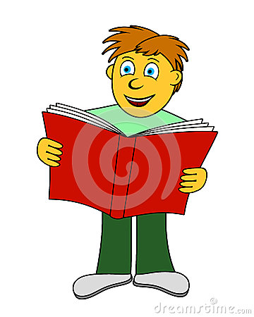 Le garçon affiche un livre