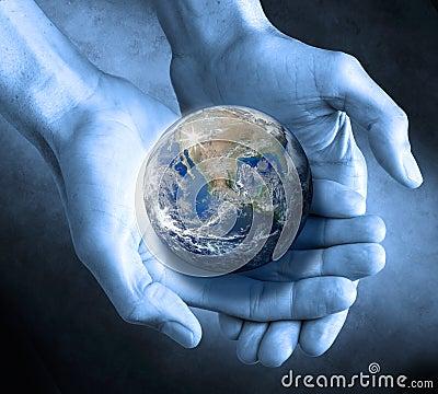 Le globe de la terre remet soutenable