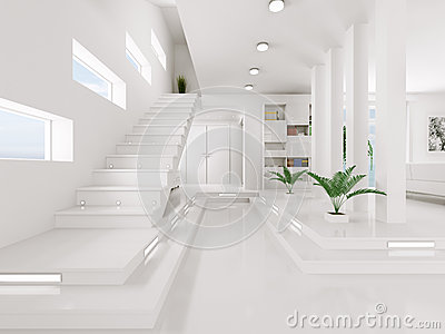 Le hall d 39 entr e blanc 3d int rieur rendent images libres de droits image 34631149 - Huis trap decoratie ...