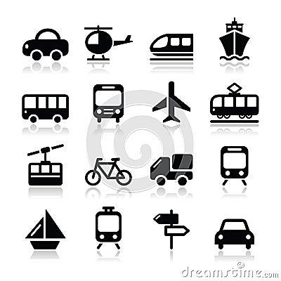 Il trasporto, icone di viaggio messe isoalted su bianco