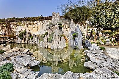 Le jardin de la chine nanjing bascule l 39 tang photo stock for Jardin chinois miniature