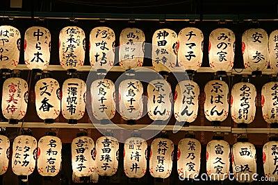 Le kanji a couvert les lanternes japonaises.