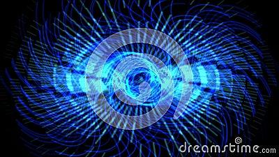 le luci laser blu dell'ingranaggio di turbinio 4k, la tecnologia di energia, la scienza di radiazione, impulso smazza il vento stock footage