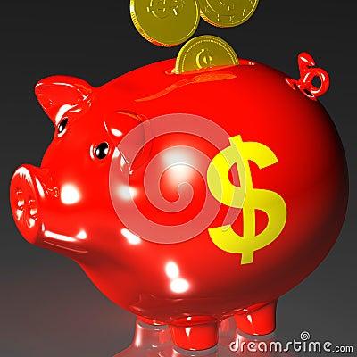 Le monete che entrano nel porcellino salvadanaio mostra i redditi americani