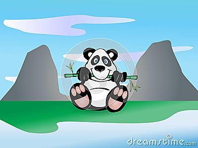 Le panda mangent la lame en bambou