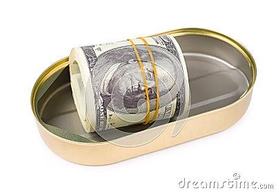 Le paquet de dollars US Peut dedans