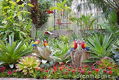 le perroquet synth tique comme d coration de jardin dans le jardin tropical de nong nooch. Black Bedroom Furniture Sets. Home Design Ideas