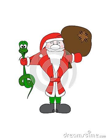 Le père noël avec le sac de serpent et de cadeau de Noël