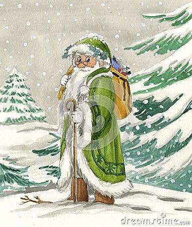 Le père noël nordique dans la robe verte