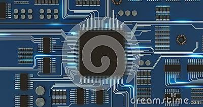 Le processeur ou la puce et les signaux électroniques sur la carte mère font le tour banque de vidéos