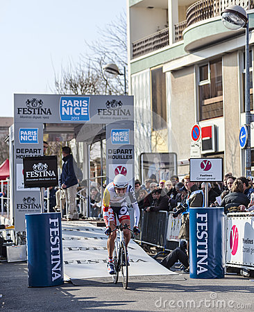 Le prologue 2013 de Cylist Bellemakers Dirk Paris Nice dans Houille Image stock éditorial
