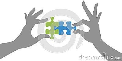 Le puzzle de mains rassemble la solution