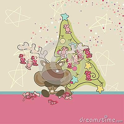 Le renne mange des sucreries