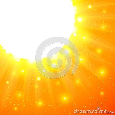 Le soleil brillant orange de vecteur avec des fusées