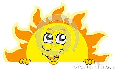 Le soleil de cachette mignon