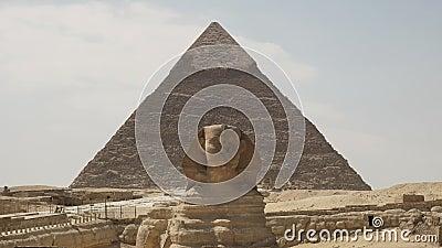 Le sphinx et la pyramide du khafre à giza près du cairo, egypte banque de vidéos