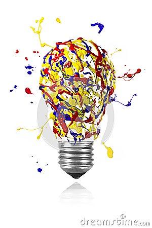 Le splah jaune de peinture de rouge bleu a fait l 39 ampoule for Peinture conceptuelle