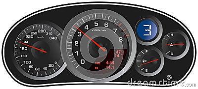 Le tableau de bord réaliste de véhicule de sport de vecteur
