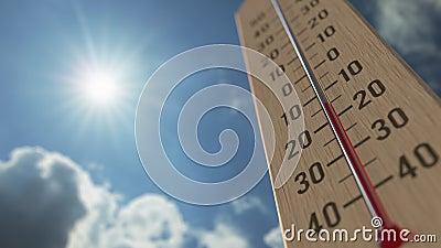 Le thermomètre extérieur atteint 0 zéros Les prévisions météorologiques ont rapporté l'animation 3D banque de vidéos