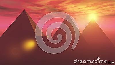 le timelapse spectaculaire de lever de soleil de 4k A de la pyramide célèbre en Egypte, lumière du soleil rayonne illustration de vecteur