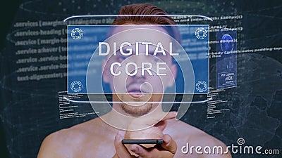 Le type agit l'un sur l'autre noyau de Digital d'hologramme de HUD banque de vidéos