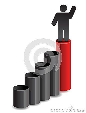 Leader business graph illustration design