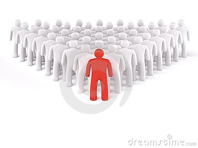 Leader and  crowd isolated