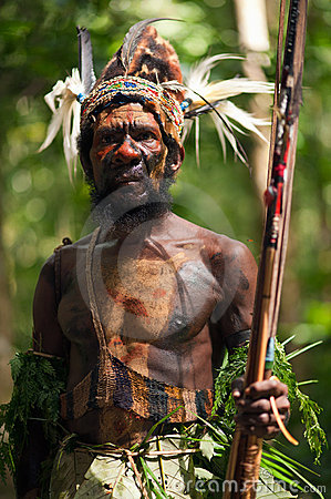 The Leader of a Papuan tribe of Yafi Editorial Stock Image