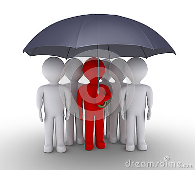 Leader and people are under umbrella