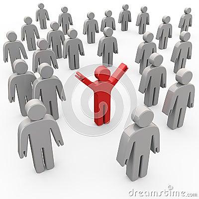 Leader red businessman