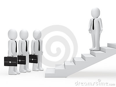 Leader show businessmen way on stairs