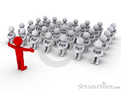 Leader is teaching people