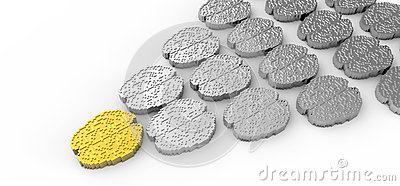 Leadership concept with 3d gold and silver brain