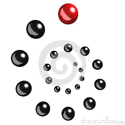Leadership concept with red ball team leader