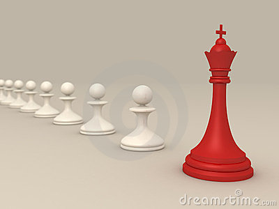 Leadership concept with Red chess king and pawns